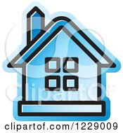 Clipart Of A Blue House Icon Royalty Free Vector Illustration