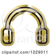 Clipart Of A Gold Headphones Icon Royalty Free Vector Illustration by Lal Perera