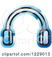 Clipart Of A Blue Headphones Icon Royalty Free Vector Illustration by Lal Perera