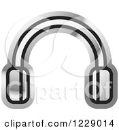 Clipart Of A Silver Headphones Icon Royalty Free Vector Illustration by Lal Perera