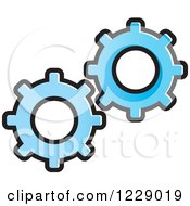 Clipart Of A Blue Gear Cog Icon Royalty Free Vector Illustration by Lal Perera