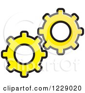 Clipart Of A Yellow Gear Cog Icon Royalty Free Vector Illustration