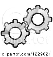 Clipart Of A Silver Gear Cog Icon Royalty Free Vector Illustration