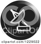 Clipart Of A Round Silver And Black Satellite Dish Icon Royalty Free Vector Illustration by Lal Perera