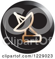 Clipart Of A Round Bronze And Black Satellite Dish Icon Royalty Free Vector Illustration