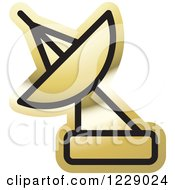 Clipart Of A Gold Satellite Dish Icon Royalty Free Vector Illustration by Lal Perera