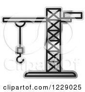 Clipart Of A Silver Construction Crane Icon Royalty Free Vector Illustration