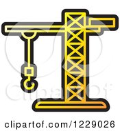 Clipart Of A Yellow Construction Crane Icon Royalty Free Vector Illustration