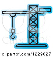 Clipart Of A Blue Construction Crane Icon Royalty Free Vector Illustration