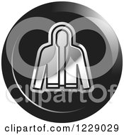 Clipart Of A Round Black And Silver Jacket Icon Royalty Free Vector Illustration