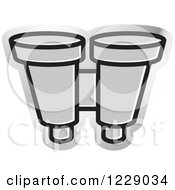 Clipart Of A Silver Binoculars Icon Royalty Free Vector Illustration by Lal Perera