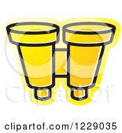 Clipart Of A Yellow Binoculars Icon Royalty Free Vector Illustration by Lal Perera