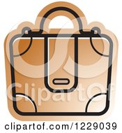 Clipart Of A Brown Briefcase Bag Icon Royalty Free Vector Illustration by Lal Perera