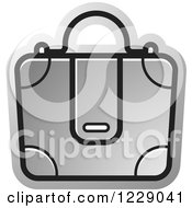 Clipart Of A Silver Briefcase Bag Icon Royalty Free Vector Illustration by Lal Perera