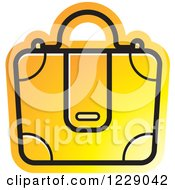 Clipart Of A Yellow And Orange Briefcase Bag Icon Royalty Free Vector Illustration by Lal Perera