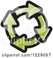 Clipart Of A Circle Of Green Recycle Arrows Icon Royalty Free Vector Illustration