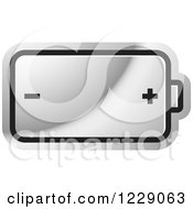 Clipart Of A Silver Battery Icon Royalty Free Vector Illustration