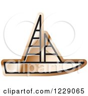 Clipart Of A Bronze Sailboat Icon Royalty Free Vector Illustration by Lal Perera