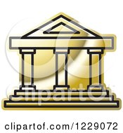 Clipart Of A Golden Court House Building Icon Royalty Free Vector Illustration by Lal Perera