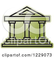 Clipart Of A Green Court House Building Icon Royalty Free Vector Illustration