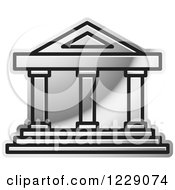Clipart Of A Silver Court House Building Icon Royalty Free Vector Illustration