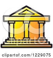 Clipart Of A Yellow And Orange House Building Icon Royalty Free Vector Illustration