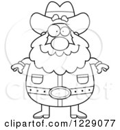 Clipart Of A Black And White Plump Prospector Man Facing Front Royalty Free Vector Illustration by Cory Thoman