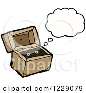 Clipart Of A Thinking Monster In A Box Royalty Free Vector Illustration by lineartestpilot