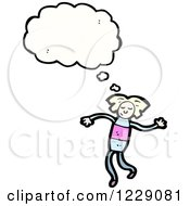 Clipart Of A Thinking Blond Girl Royalty Free Vector Illustration by lineartestpilot