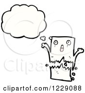 Clipart Of A Thinking Torn Piece Of Paper Royalty Free Vector Illustration by lineartestpilot
