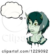 Clipart Of A Thinking Green Devil Woman Royalty Free Vector Illustration by lineartestpilot