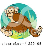 Clipart Of A Monkey Leaping Over Jungle Plants Royalty Free Vector Illustration by Andy Nortnik