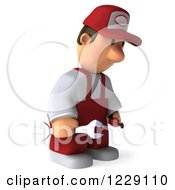 Clipart Of A 3d Sad Auto Mechanic Man In Overalls 2 Royalty Free Illustration