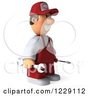 Clipart Of A 3d Auto Mechanic Man In Overalls Facing Right Royalty Free Illustration