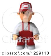 Clipart Of A 3d Sad Auto Mechanic Man In Overalls Royalty Free Illustration