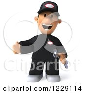 Clipart Of A 3d Presenting Auto Mechanic Man Royalty Free Illustration
