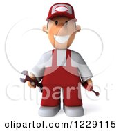 Clipart Of A 3d Auto Mechanic Man In Overalls Royalty Free Illustration