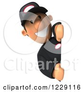 Clipart Of A 3d Auto Mechanic Man Looking Around A Sign Royalty Free Illustration