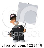 Clipart Of A 3d Auto Mechanic Man Holding A Sign Royalty Free Illustration