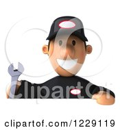 Clipart Of A 3d Auto Mechanic Man Over A Sign Royalty Free Illustration