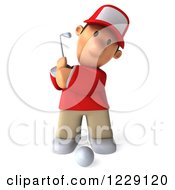 Clipart Of A 3d Swinging Golfer Toon Guy In A Red Shirt Royalty Free Illustration by Julos