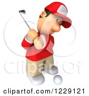 Clipart Of A 3d Swinging Golfer Toon Guy In A Red Shirt 2 Royalty Free Illustration by Julos