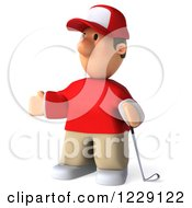 Clipart Of A 3d Presenting Golfer Toon Guy In A Red Shirt Royalty Free Illustration by Julos