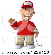 Clipart Of A 3d Waving Golfer Toon Guy In A Red Shirt Royalty Free Illustration by Julos