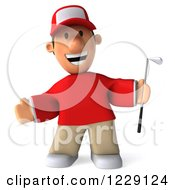 Clipart Of A 3d Welcoming Golfer Toon Guy In A Red Shirt Royalty Free Illustration by Julos