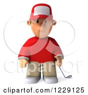 Clipart Of A 3d Sad Golfer Toon Guy In A Red Shirt Royalty Free Illustration by Julos