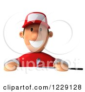 Clipart Of A 3d Golfer Toon Guy In A Red Shirt Over A Sign Royalty Free Illustration by Julos