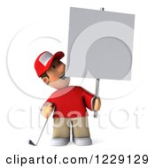 Clipart Of A 3d Golfer Toon Guy In A Red Shirt Holding A Sign Royalty Free Illustration by Julos