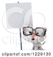 Clipart Of A 3d Bespectacled White Kitten Under A Sign Royalty Free Illustration