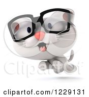 Clipart Of A 3d Bespectacled White Kitten Running Royalty Free Illustration